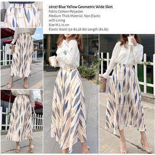 WST 26197 Blue Yellow Geometric Wide Skirt