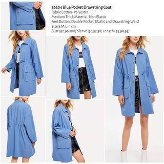 WST 26204 Blue Pocket Drawstring Coat