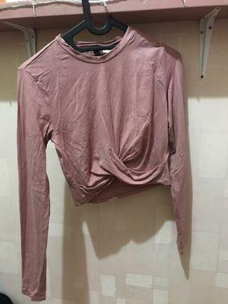H&M crop top baby pink