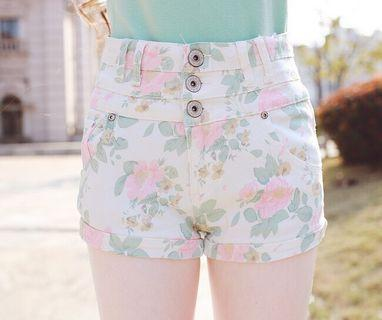 Pastel Flora Button-up Shorts