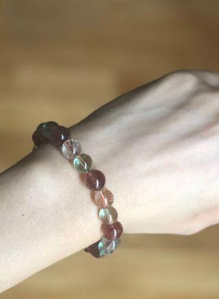 Strawberry quartz, green fluorite, bronze rutilated quartz bracelet
