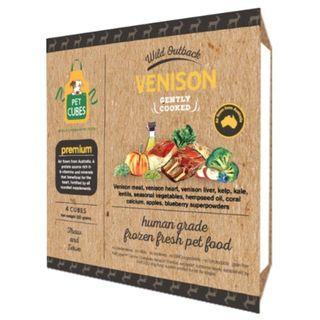 Pet Cubes Complete Venison Frozen Cooked Dog Food