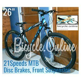 "26"" MTB / Mountain Bikes ☆ 21 Speeds, Disc Brakes & Front Suspension ☆ Brand new bicycle"