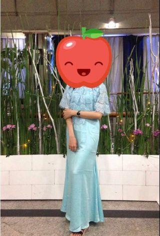 Turquoise Long Dress with Brocade Lace