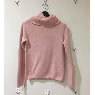 粉紅色 高領毛衣 Pink Turtleneck Sweater Free Size