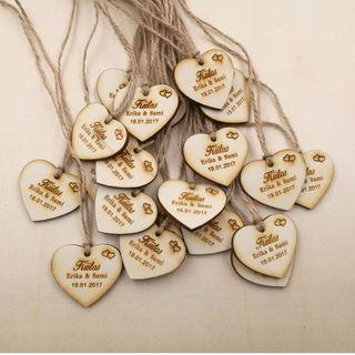 50 Pcs Personalized Wooden Wedding, Bridal Shower, Thank you tags custom save the date