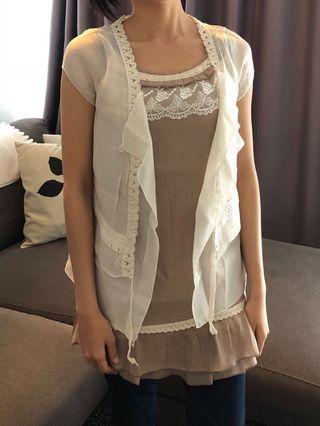 Preloved Brown Lace Dress Top [SALE]