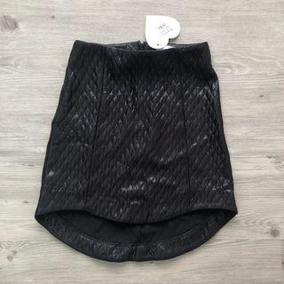 Love Bonito Asymmetrical Leather Skirt in Black