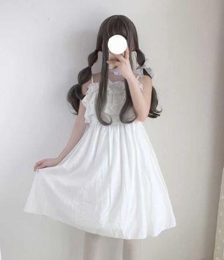 甜美日系白色吊帶裙(送頸帶)