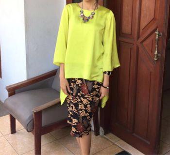 Green Yellow Silk Top & Batik Short Ruffle Skirt