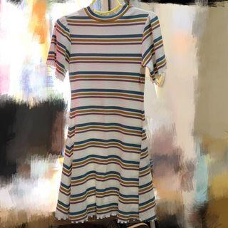 Heather 綠黃米白間條直身修身裙 variegated strip bodycon dress