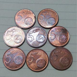 Vintage Mixed European Euro 5 Cent Coins 8 Units