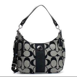 🚚 Coach Signature Stripe Convertible Hobo