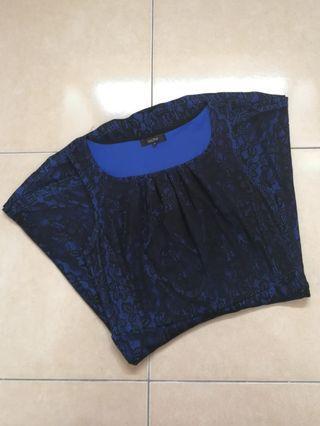 Nichii Blue Lace Flare Dress