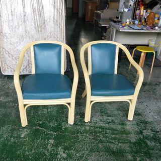 合運二手傢俱~實木皮沙發.公婆椅A02244