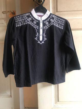 Baju Koko hitam putih Anak