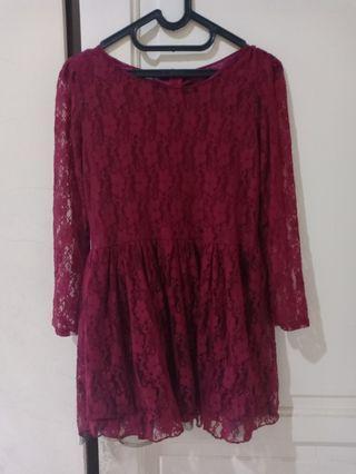 #bapau Midi dress tangan panjang merah