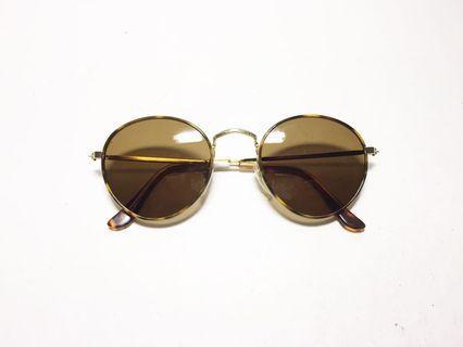 🚚 澳洲品牌 Black Ice 棕色墨鏡片 復古太陽眼鏡 琥珀豹紋大圓形細框 like thom browne 雷朋風格, Australian eyewear brand.