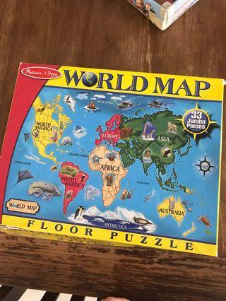 Melissa dough big world map floor puzzle