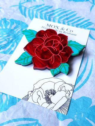 🇦🇺BNIP🇦🇺 MOX & Co. Tattoo-Inspired Red Rose Brooch