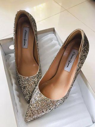 超舒服玫瑰金閃閃高跟鞋/婚鞋