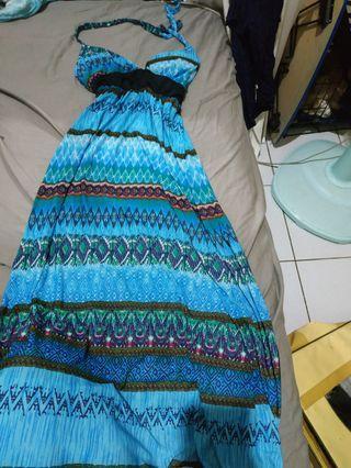 涼感絲質長洋裝
