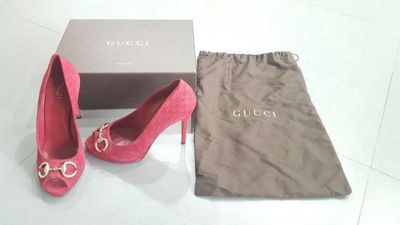 Authentic Gucci Red Suede Stilettos