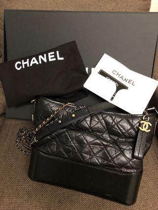 100%real有圓方專門店單 chanel gabrielle hobo bag m size in black cavier