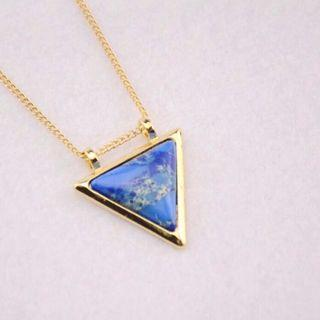 aesthetic blue triangle necklace