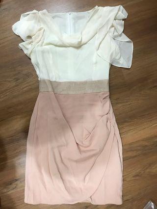🚚 Pink & White Gathered Collar Dress (from Korea)
