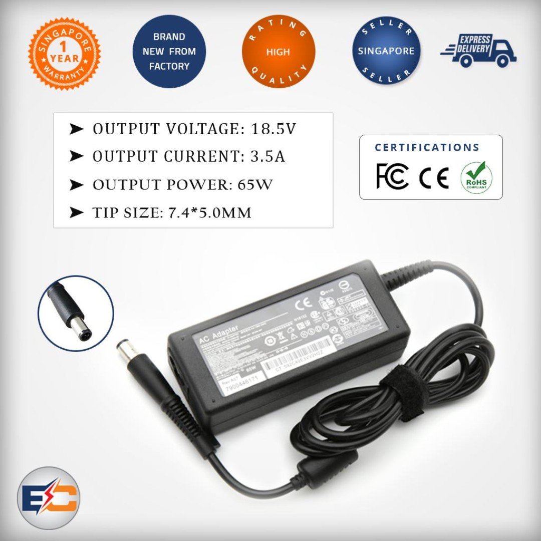 18 5v 3 5a 65w (7 4*5 0mm) Replacement Charger for HP Pavilion DV5 DV7 DV4  65W 18 5V/3 5A 7 4*5 0mm with pin inside