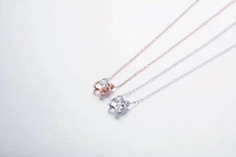 18k牛頭款鑽石頸鏈-「十分愛」