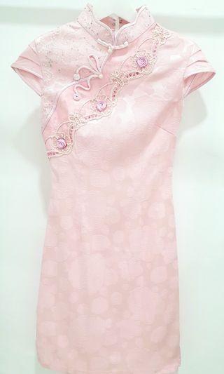 Pink Embroidery Cheongsam
