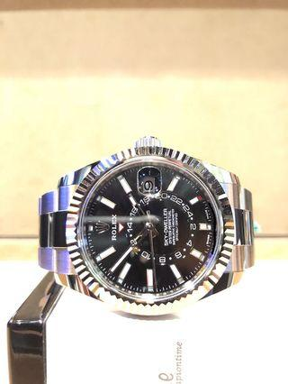 Brand New Rolex Oyster Sky-Dweller 326934 Black Dial Automatic Steel Casing Bracelet