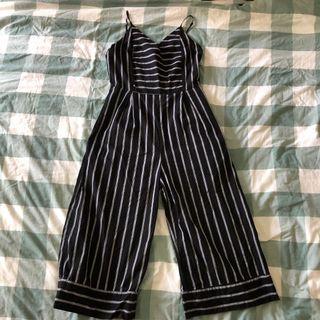 something borrowed black striped midi romper