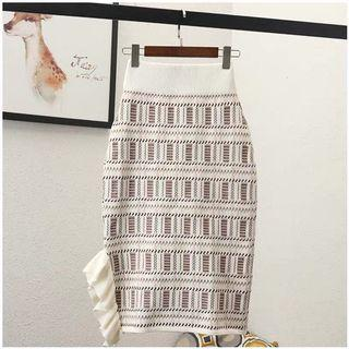Knitted Pencil Skirt in Cream
