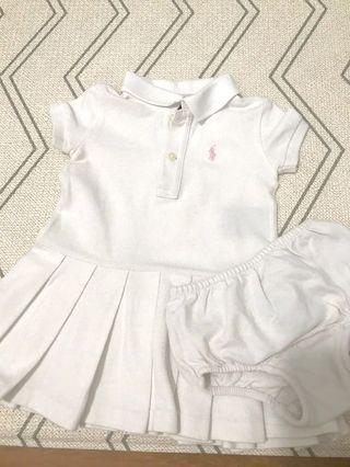 🚚 Ralph Lauren 9M Baby girl white polo dress