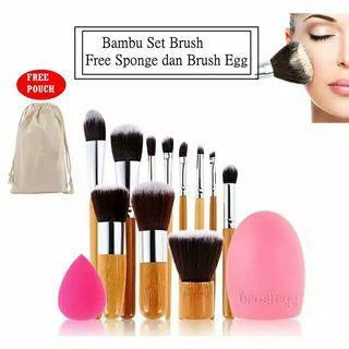 BRUSH BAMBOO SET plus beauty blender & brush egg
