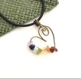 Crystal Rainbow Pendant Necklace 7 Chakras Antique Bronze Wire Wrap Handmade