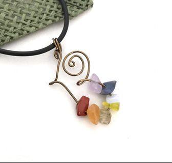 Crystal Necklace Rainbow Pendant 7 Chakras Gemstone Chips Antique Bronze Silver Wire Wrap Handmade