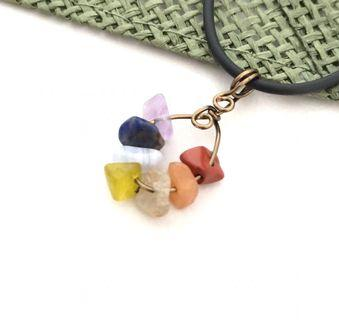 Crystal Necklace Rainbow 7 Chakras Antique Bronze Wire Wrap Handmade