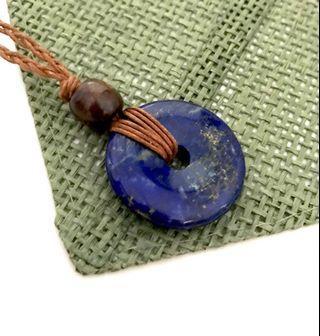🚚 Lapis Lazuli Donut Crystal Stone Pendant Macrame Necklace Adjustable Handmade