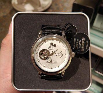 迪士尼樂園 米奇老鼠 黑皮帶錶 機械錶