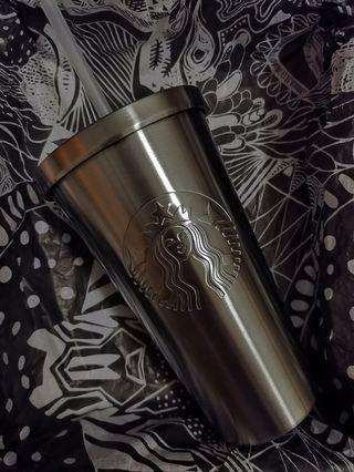 Starbucks silver stainless Steel cold cup