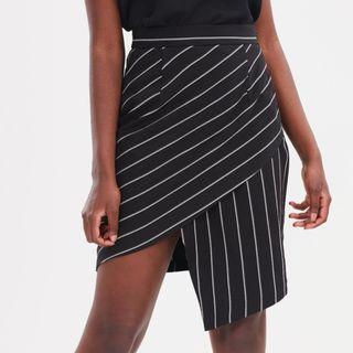ATMOS&HERE Rosie Midi Skirt Business Formal Mini Asymmetric Black Wrap Stripe