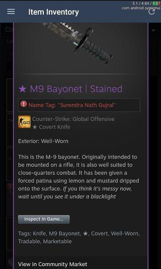 M9 Bayonet Stained