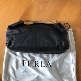 Black pebble Furla leather bag