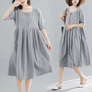 預購「韓版純色大尺碼氣質洋裝 寬鬆」