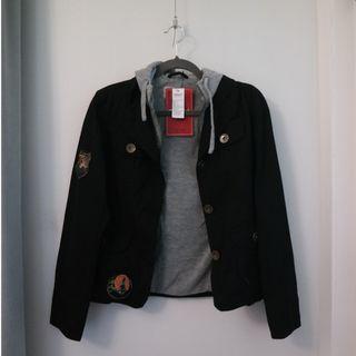 Black Jacket Hoodie with Vintage Patches Grey Biker