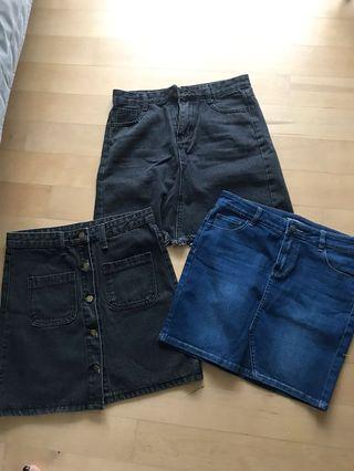 🚚 Denim Jeans 3 Skirts black and blue bundle